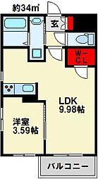 GALA PLATINUM COURT 7階1LDKの間取り