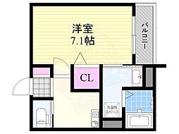 JR東西線 加島駅 徒歩3分の賃貸マンション 2階1Kの間取り