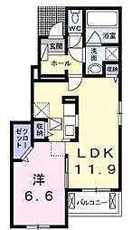 赤池町アパートA 1階1LDKの間取り