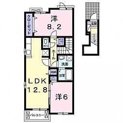近鉄南大阪線 河内天美駅 徒歩20分の賃貸アパート 2階2LDKの間取り
