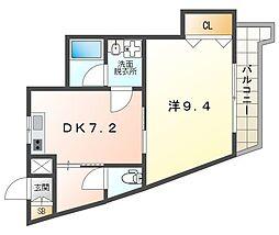 グリーンゲイブルズII 6階1DKの間取り