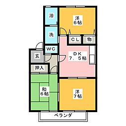 コウジーコートB棟[2階]の間取り