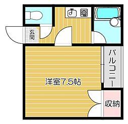 京阪本線 西三荘駅 徒歩8分の賃貸マンション 3階ワンルームの間取り