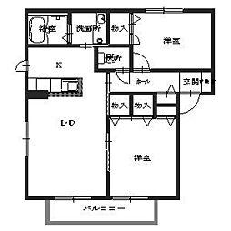 K`sアプローズD棟[2階]の間取り