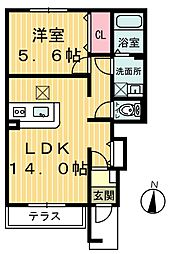 ビバーチェ[1階]の間取り