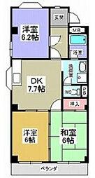 愛知県名古屋市瑞穂区十六町2丁目の賃貸マンションの間取り