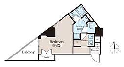ba apartment 8階1Kの間取り