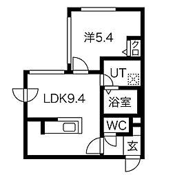 札幌市営東西線 西28丁目駅 徒歩7分の賃貸マンション 3階1LDKの間取り