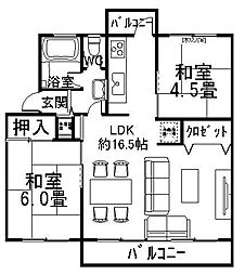 新金岡3丁1番B住宅(新金岡東小学校区)[4階]の間取り