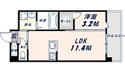 フェニックスクローブトモイ 8階1LDKの間取り