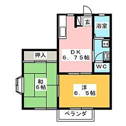 コーポシャトレD[1階]の間取り