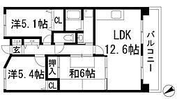 兵庫県川西市東多田2丁目の賃貸マンションの間取り