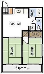 コーポ城丸[208号室]の間取り
