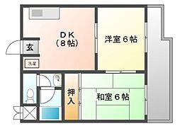 富士スカイマンション[4階]の間取り