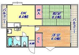 白い小さなマンション[302号室]の間取り