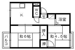 サンコーポ稲川[203号室]の間取り