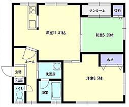 秋田県横手市横手町字六ノ口の賃貸アパートの間取り