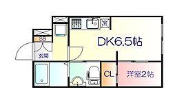 JR仙山線 東北福祉大前駅 徒歩18分の賃貸マンション 3階1DKの間取り
