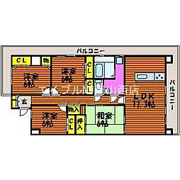 岡山県岡山市中区兼基の賃貸マンションの間取り