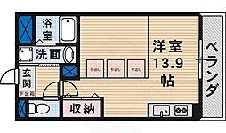 Osaka Metro御堂筋線 新金岡駅 徒歩10分の賃貸マンション 1階ワンルームの間取り