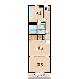 1407コーポレガシー2[2階]の間取り
