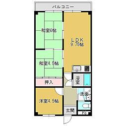 奈良県大和高田市片塩町の賃貸マンションの間取り