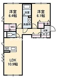 岡山県岡山市北区白石の賃貸アパートの間取り