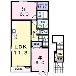 山口県下関市小月西の台の賃貸アパートの間取り