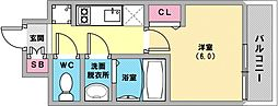 プレサンス兵庫駅前 8階1Kの間取り