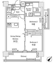 新交通ゆりかもめ 新豊洲駅 徒歩22分の賃貸マンション 4階2LDKの間取り