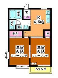 第3中平野ハウス[203号室]の間取り