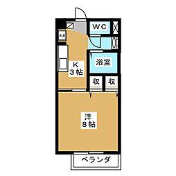 Cadenzaマルヤマ 2階1Kの間取り