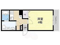 阪急神戸本線 園田駅 徒歩4分の賃貸アパート 3階1Kの間取り