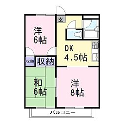 兵庫県加古川市西神吉町岸の賃貸アパートの間取り