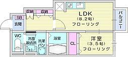 仙台市営南北線 長町駅 徒歩12分の賃貸アパート 1階1LDKの間取り