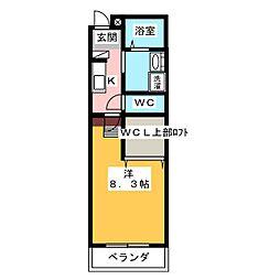 ルチェーレ宮ヶ崎 1階1Kの間取り