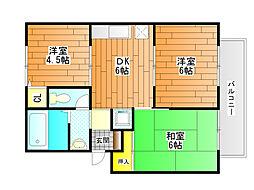 大阪府富田林市木戸山町の賃貸アパートの間取り