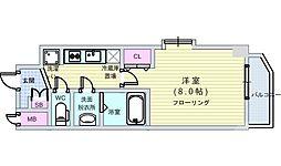 JR大阪環状線 西九条駅 徒歩10分の賃貸マンション 3階1Kの間取り