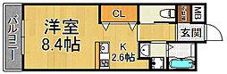 武庫川スクエア 3階ワンルームの間取り