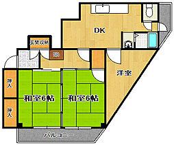 花川ハイツ[401号室]の間取り