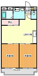 メゾンドール北加賀屋[2階]の間取り