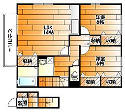 広島県広島市安佐南区長束5丁目の賃貸アパートの間取り