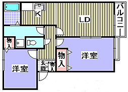 Villa Fiore3棟[202号室]の間取り