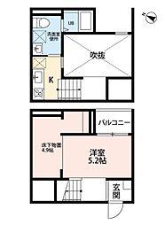名鉄瀬戸線 小幡駅 徒歩12分の賃貸アパート 2階1Kの間取り