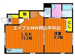 JR山陽本線 万富駅 5.4kmの賃貸アパート 1階1LDKの間取り