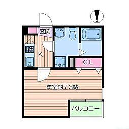 東京メトロ千代田線 綾瀬駅 徒歩7分の賃貸アパート 1階1Kの間取り