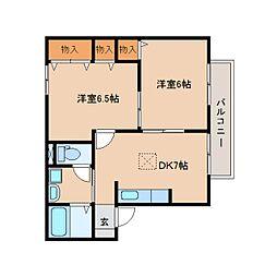 静岡県静岡市清水区能島の賃貸アパートの間取り