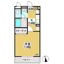 パルフェ三輪A棟[3階]の間取り