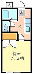 コーポサーブI[1F (角)号室]の間取り