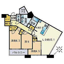 アイタワー 3階3LDKの間取り